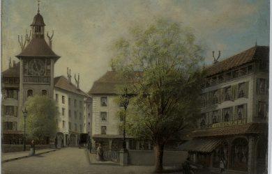 Genève, la place Bel-Air avec la tour de l'Ile - ©  BGE, Centre d'iconographie genevoise